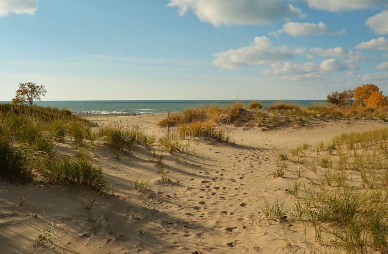 Warren Dunes State Park no Lago Michigan imagens de stock royalty free