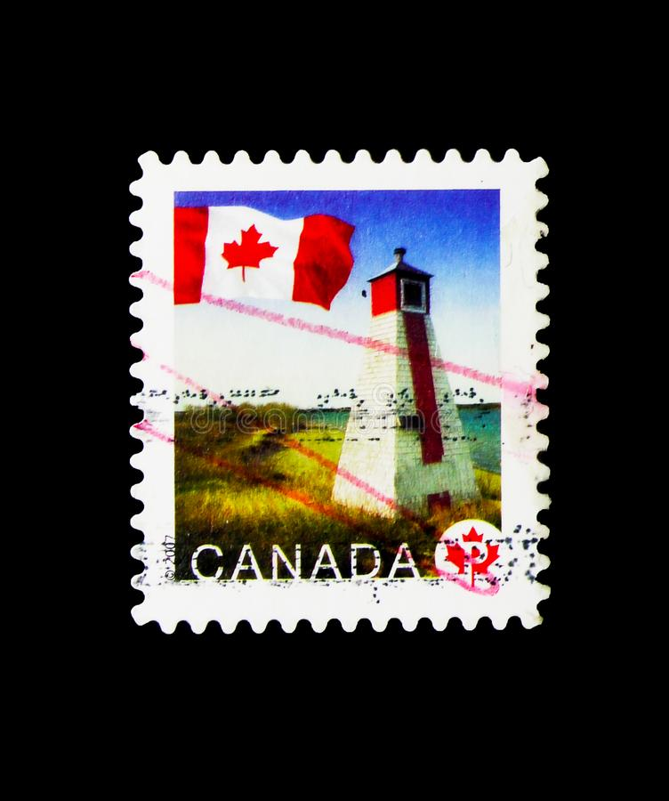 Warren Landing, Manitoba, Flag Definitives serie, circa 2007. MOSCOW, RUSSIA - MARCH 18, 2018: A stamp printed in Canada shows Warren Landing, Manitoba, Flag royalty free stock photos