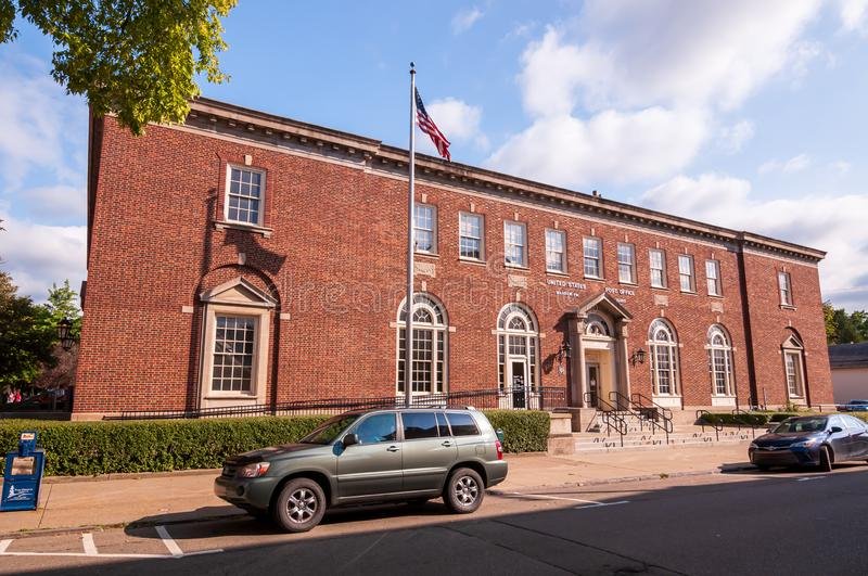 Warren, Pennsylvania, USA 8/30/2019 The United States Post office on West Third Avenue. In summer time stock photography