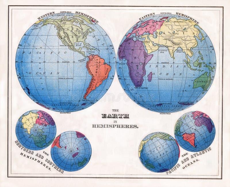 1874 Warren Print antigo do mundo nos hemisférios com projeções polares fotos de stock royalty free