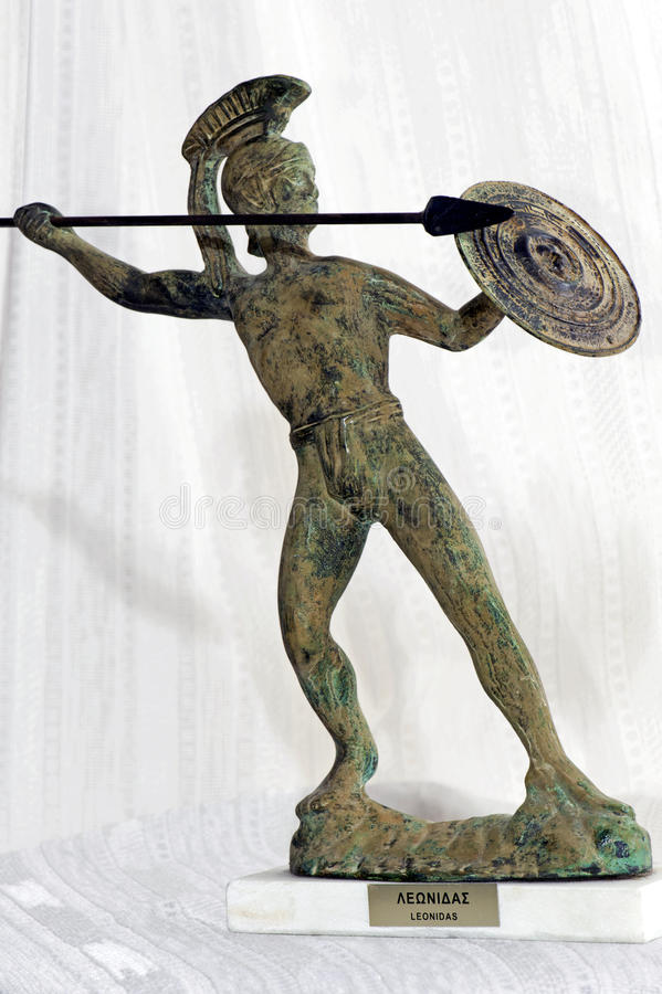 Warrior. A bronze statue representing the hero-king Leonidas stock images