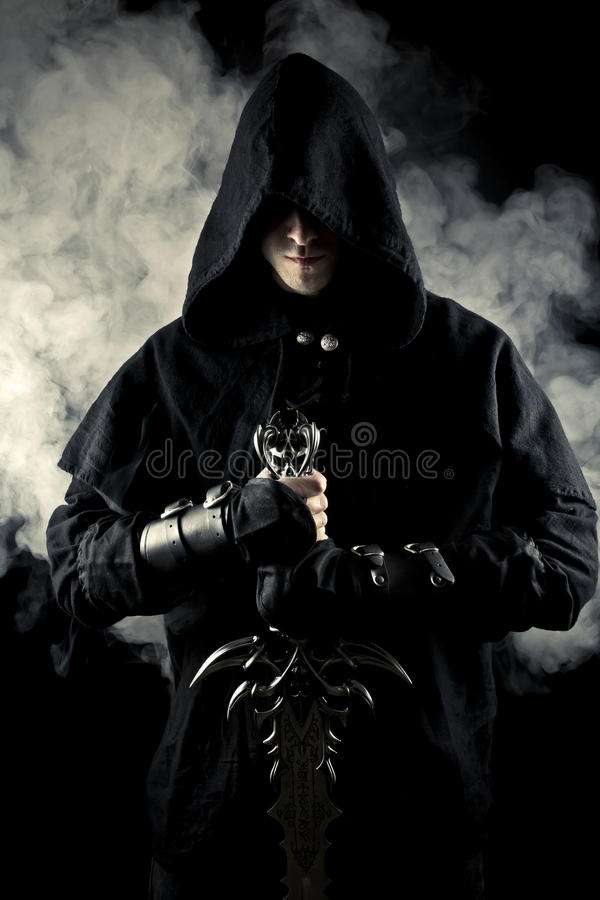 Warrior in abstract smoke royalty free stock photos