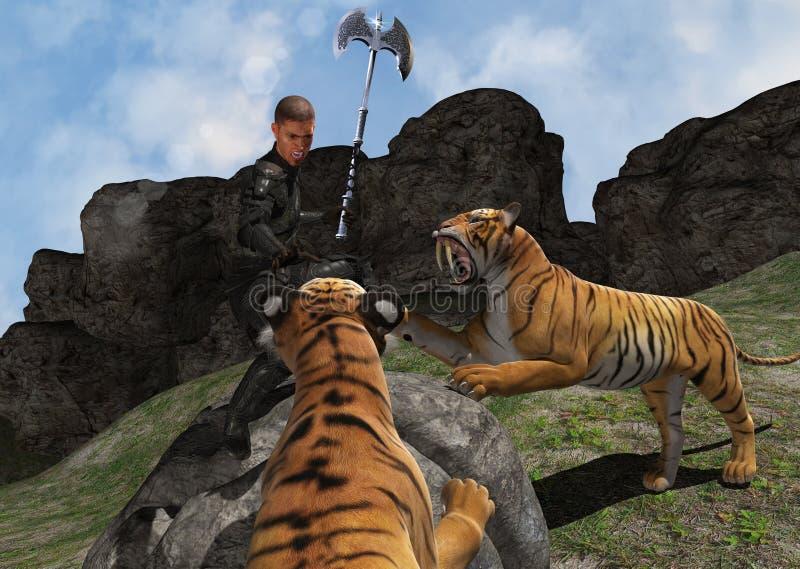 Warrior Battling Wild Beasts Illusration. Warrior battling with fearsome wild beasts stock illustration