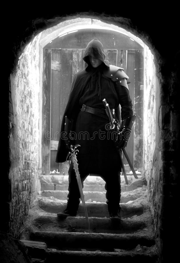 Warrior in forgotten place royalty free stock photography