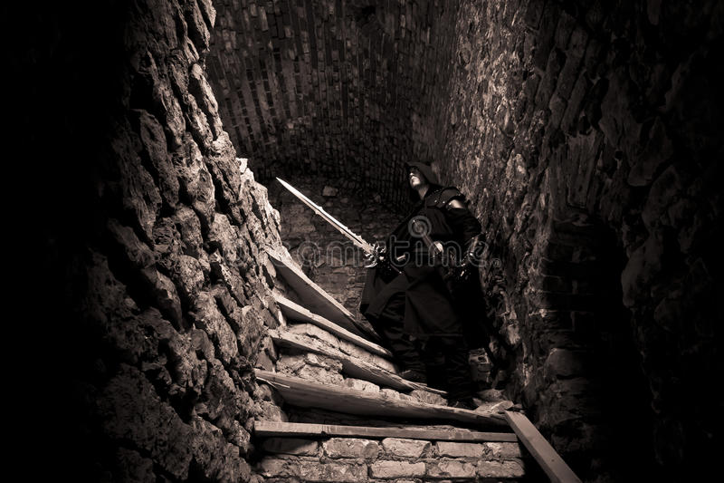 Warrior in forgotten place royalty free stock photo