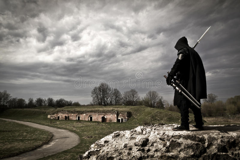 Warrior in forgotten place royalty free stock images