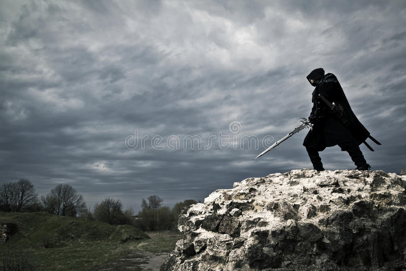 Warrior in forgotten place stock photography