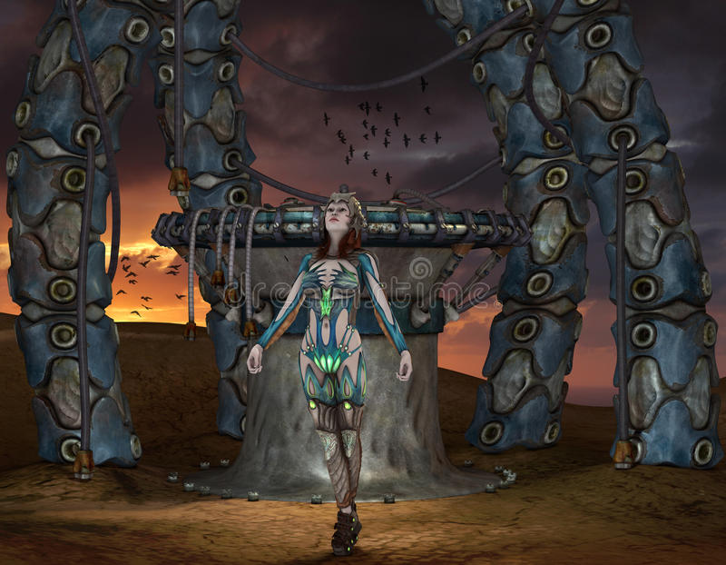 Warrior in front of a portal vector illustration
