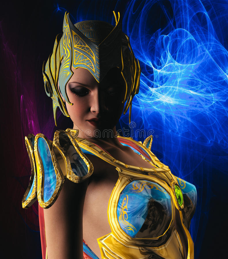 Warrior with Gold and Blue armour. 3D render of a warrior with gold and blue armour vector illustration