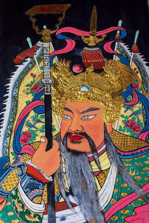 Warrior Guardian der bemalten Türen des Han Jiang Ancestral Tempels, taoistischer Tempel von Georgetown in Penang Malaysia lizenzfreies stockfoto