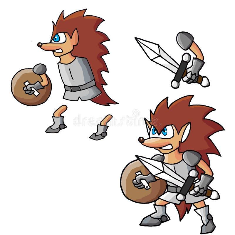 Warrior Hedgehog cartoon Character stock illustration