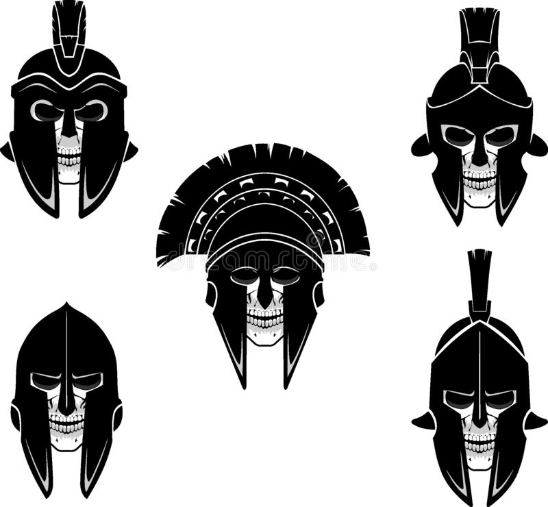 Warrior Helmets with skull head stock illustration