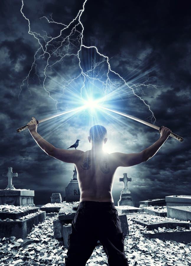 Warrior with his Katana royalty free stock photography