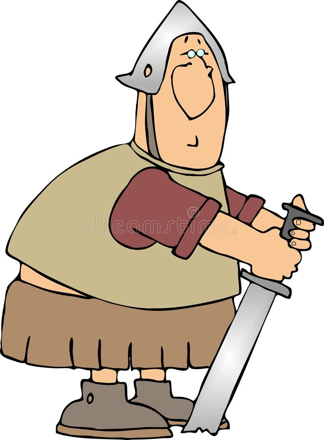 Warrior With His Sword In The Ground Stock Photo