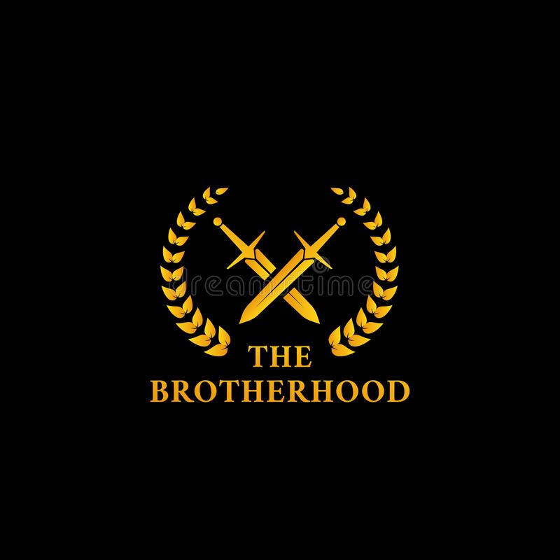 The warrior knight sword fighter brotherhood logo icon symbol with crossed sword and laurel wreath in gold color illustration. Crossed warrior knight sword with stock illustration