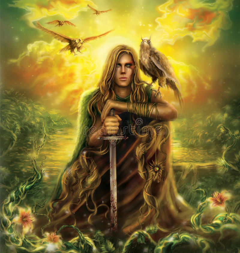 Warrior. Man wanderer on the pass, in a magical land, with sword and faithful bird, fantasy illustration, Digital Art