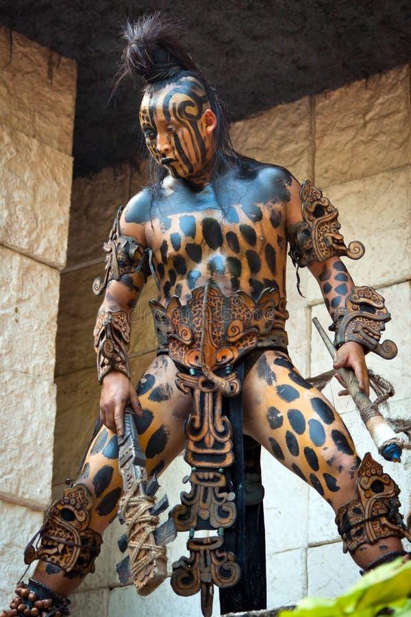 Warrior at Mayan temple royalty free stock photography