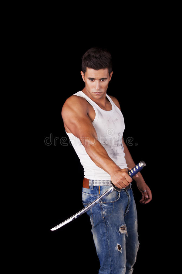 Warrior with ninja swords royalty free stock images