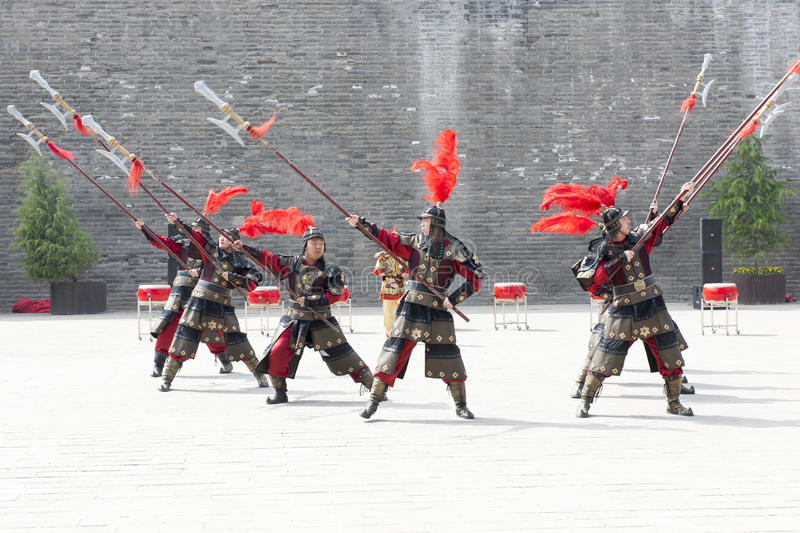 Performance of traditional warriors, Xian, China stock images