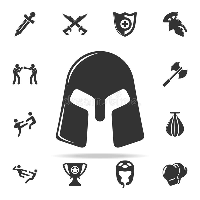 Warriors Helmet Icon Set Of Cfight And Sparring Element Icons