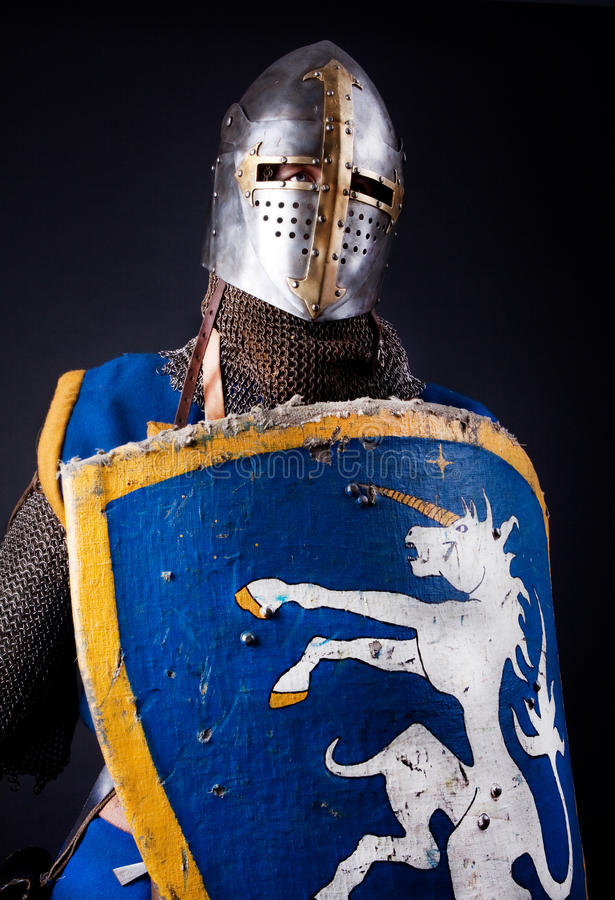 Warrior with shield stock image