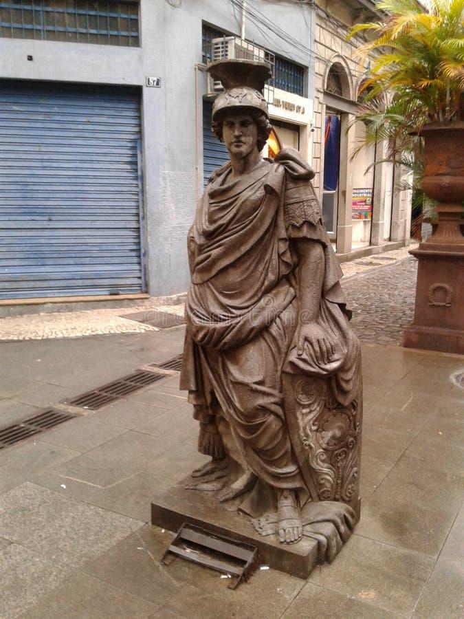 Warrior statue Rio de Janeiro Downtown Brazil. Warrior statue Rio de Janeiro Downtown. Statue, rainy day, art, culture, narrow street, city, landscape stock photos