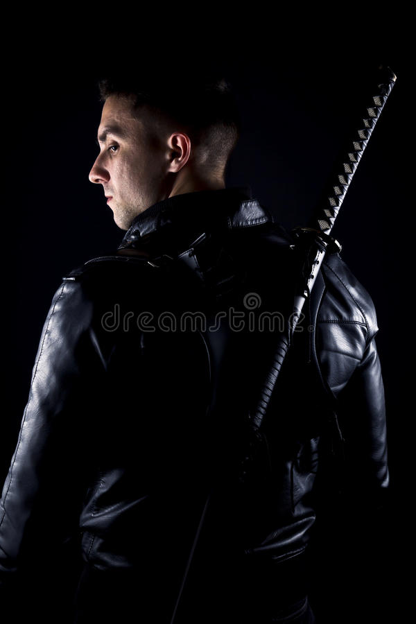 Warrior with sword royalty free stock photo