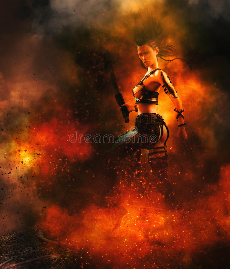 Warrior with sword in flames vector illustration