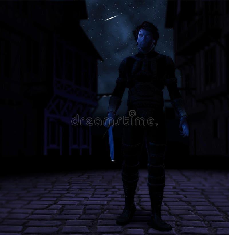 Warrior With Sword Night of Vengeance Revenging stock photos