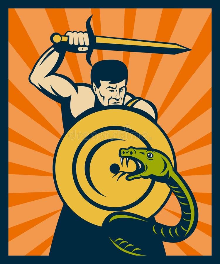 Warrior sword shield snake