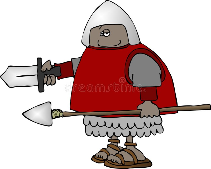 Download Warrior With A Sword & Spear Stock Illustration - Image: 2707102