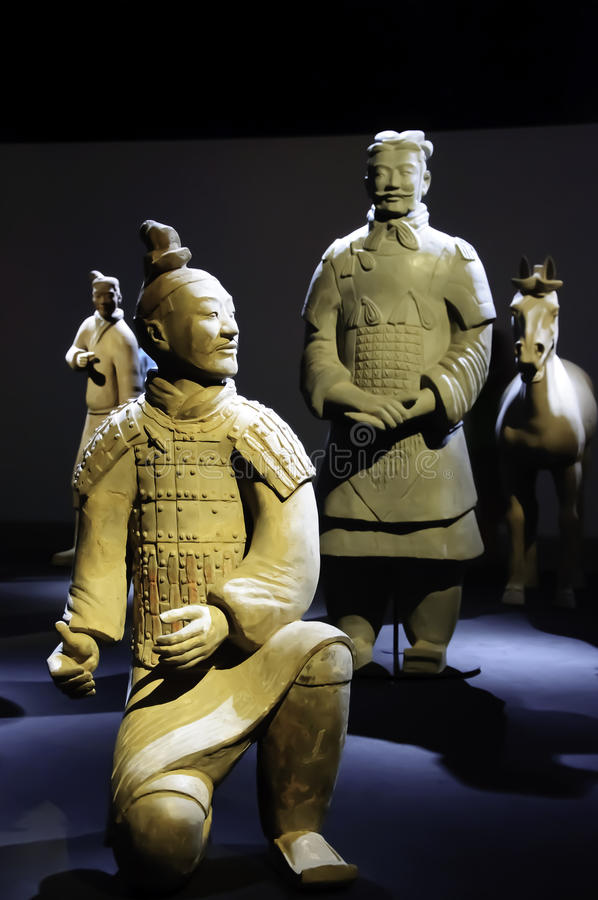 Warrior of the terracotta army chinese. Giant warrior of the terracotta army chinese on exhibition royalty free stock image