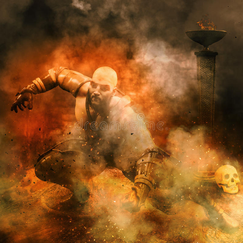 Warrior with torch and skull background royalty free stock photography