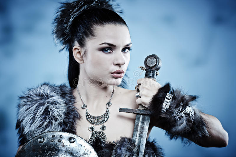 Warrior woman. royalty free stock photo