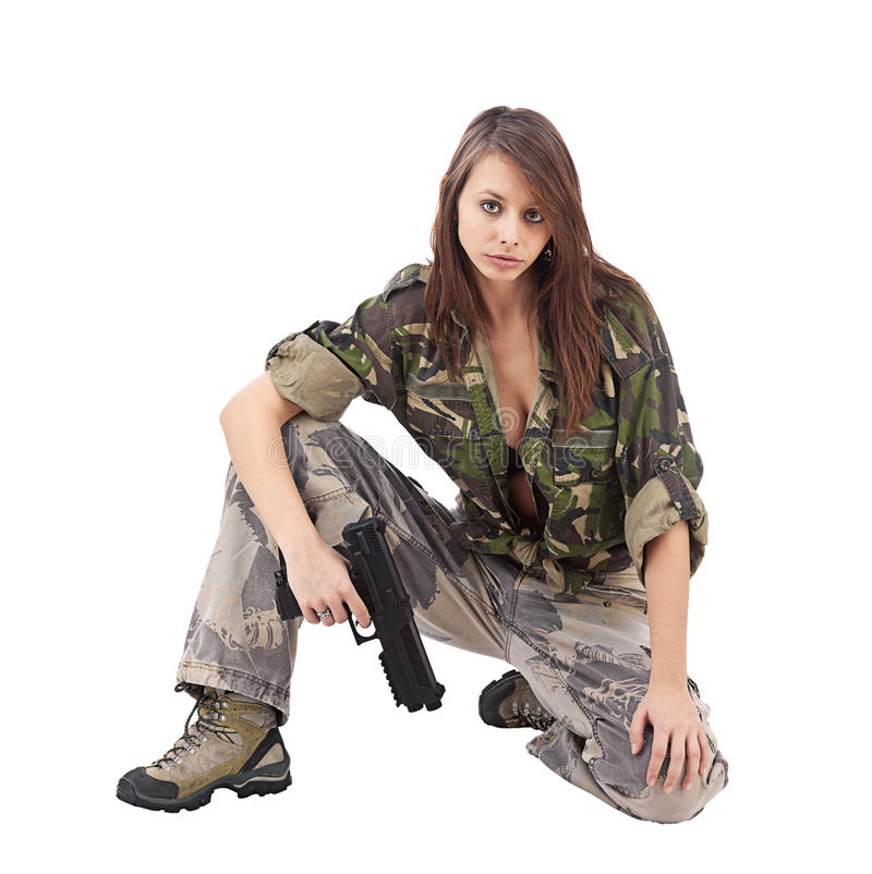 Warrior Woman in military camo. Isolated on white royalty free stock photography
