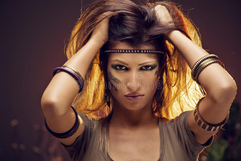 Warrior Woman. Portrait of a warrior woman. Looking at camera stock photography