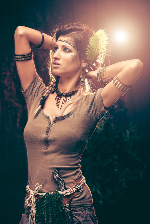 Warrior Woman. Portrait of a warrior woman at sunset royalty free stock photography