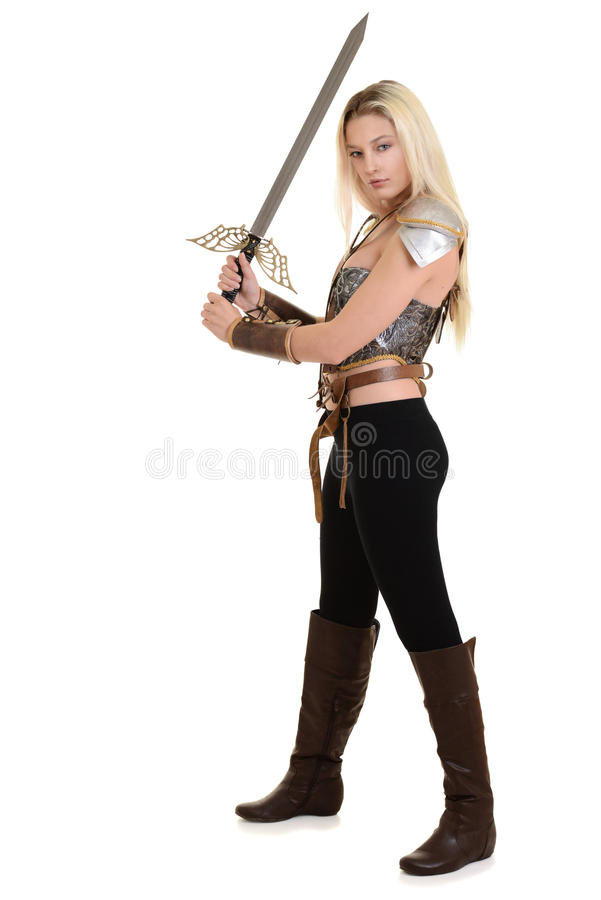 Warrior woman using two handed sword. On white background stock images