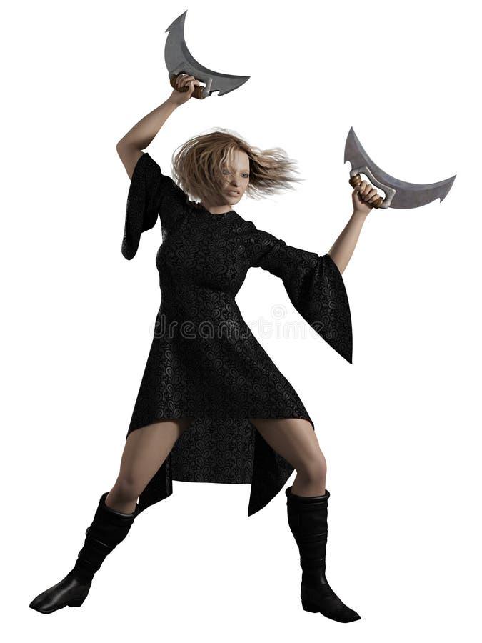 Free Warrior Woman With Half Moon Blades Stock Photos - 31994673