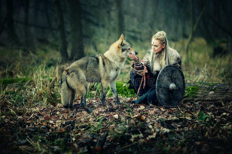 Warrior Woman with a woolf in the woods. Reconstruction of a medieval scene. Heroics on the battlefield stock images