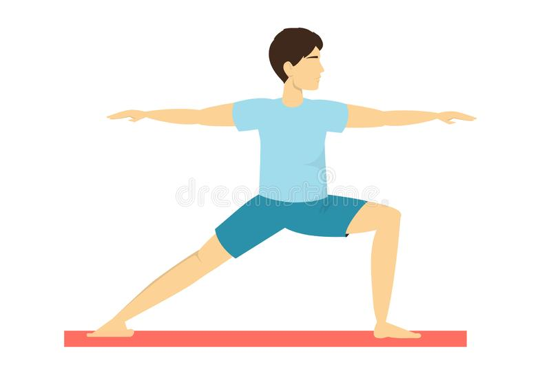 Warrior Yoga Pose Fitness Exercise For Body Training And Balance Stock Vector Illustration Of Legged Position 164232924