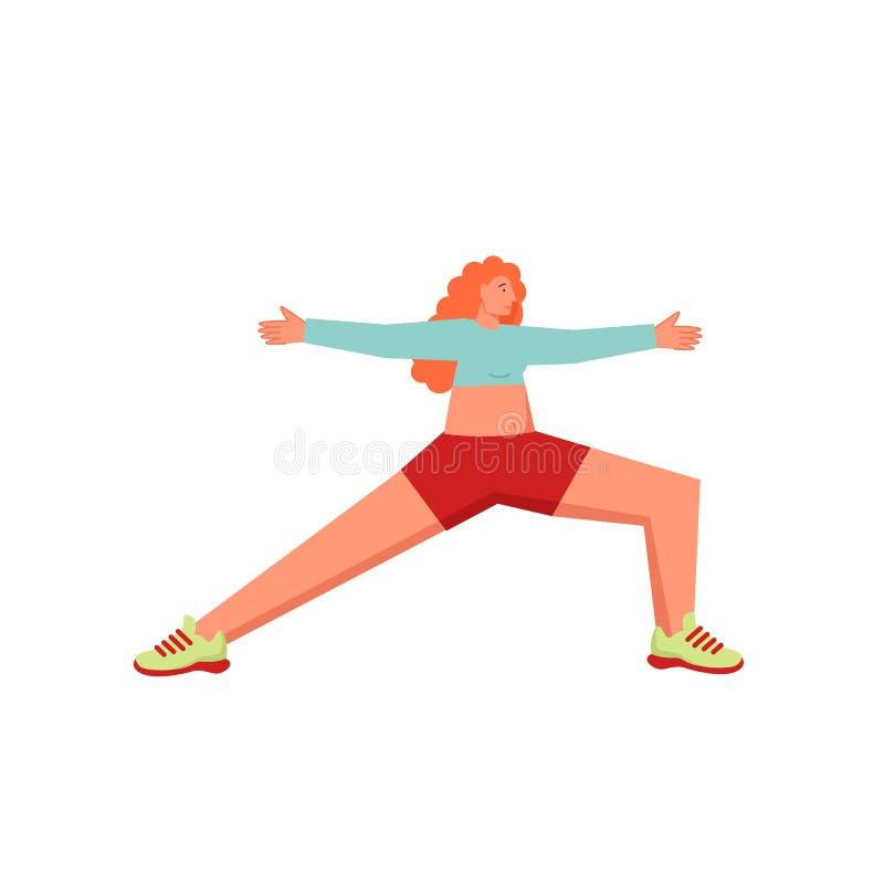 Warrior 2 yoga pose, vector flat style design illustration. Woman doing Warrior 2 yoga pose, vector flat style design illustration isolated on white background vector illustration