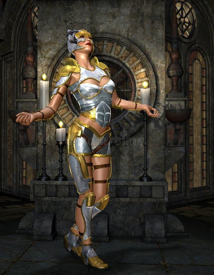 Warrioress en la armadura de plata en capilla de oro libre illustration