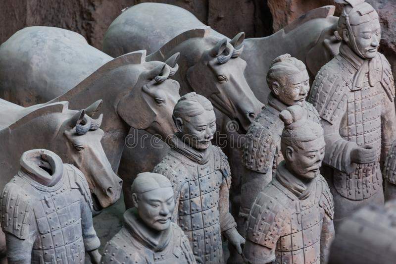 Warriors of famous Terracotta Army in Xian China stock images