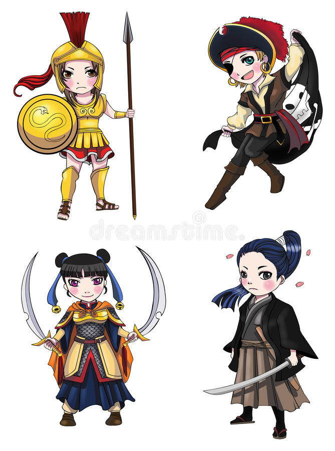 Warriors girl from various culture set 1 vector illustration
