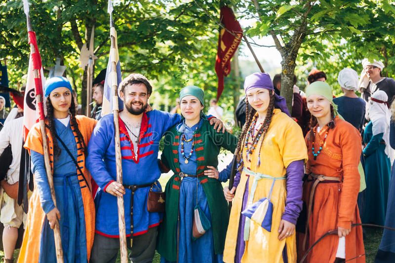 Warriors participants of VI festival of medieval culture stock photography