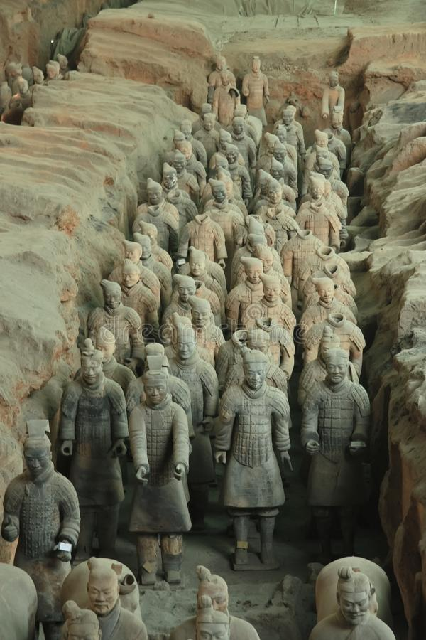 Warriors of the past. China, Xi`an: Archaeological excavations of the clay army of the emperor Qin Shi Huang. The terracotta army is a figure of ancient stock image