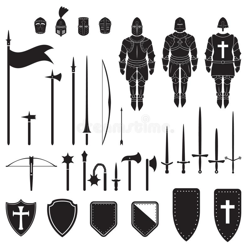 Free Warriors Series - Medieval Knights Equipment, Weapons And Armor. Vector. Royalty Free Stock Images - 120169059