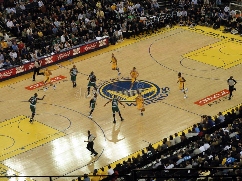 Warriors Stephen Curry moves ball down court royalty free stock photo