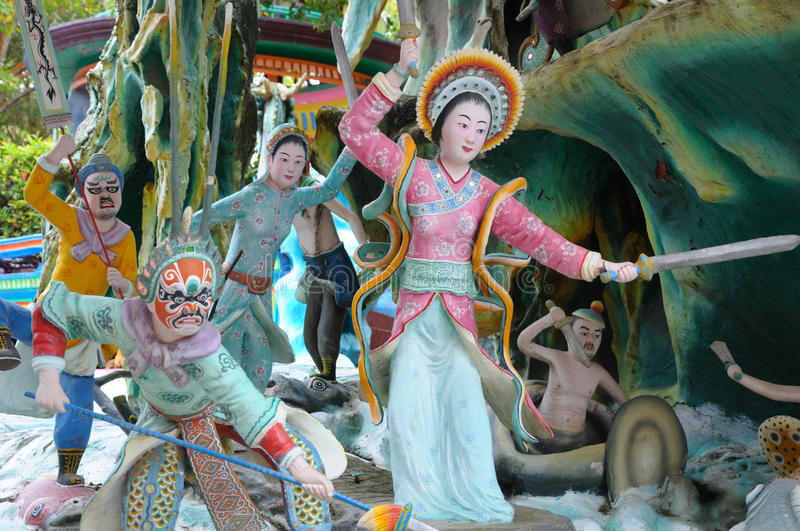 Warriors tableaux at Haw Par Villa in Singapore. A photo taken on the tableaux of warriors at Haw Par Villa in Singapore royalty free stock images